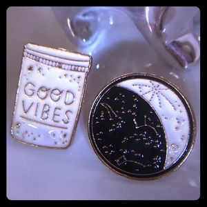 """Good Vibes"" & astrology stars enamel pin set NIB"